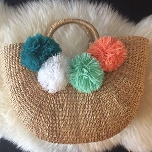 Handbags - World market small raffia Pom Pom tote